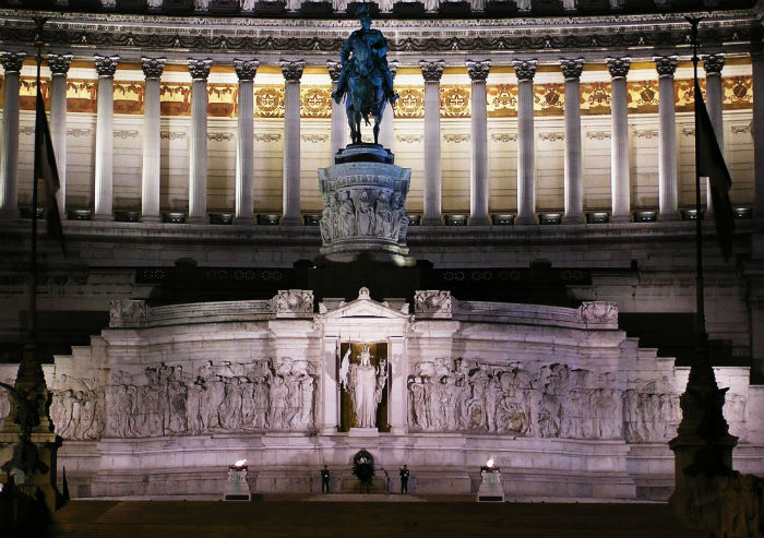 The Vittoriano with the monument to the Unknown Militar, the statue to Victor Emmanuel II and the splendid illuminated high porch