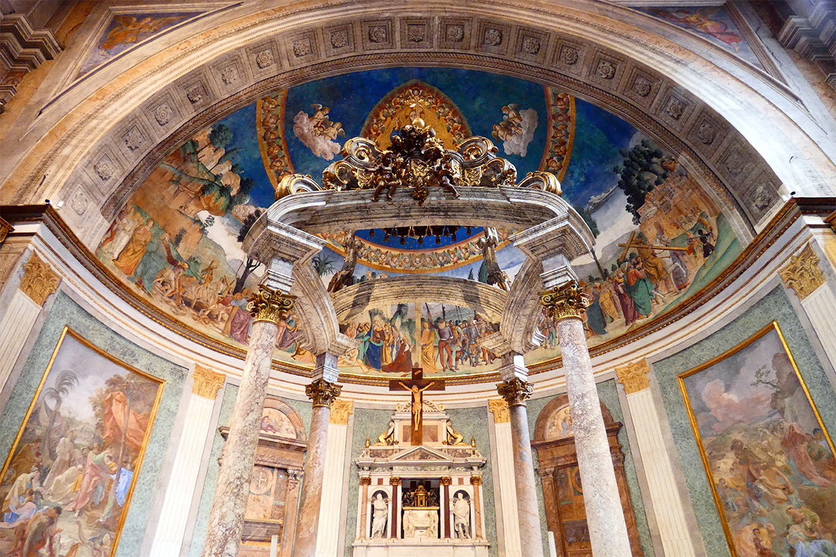 Interior of the Basilica of the Holy Cross in Jerusalem in Rome