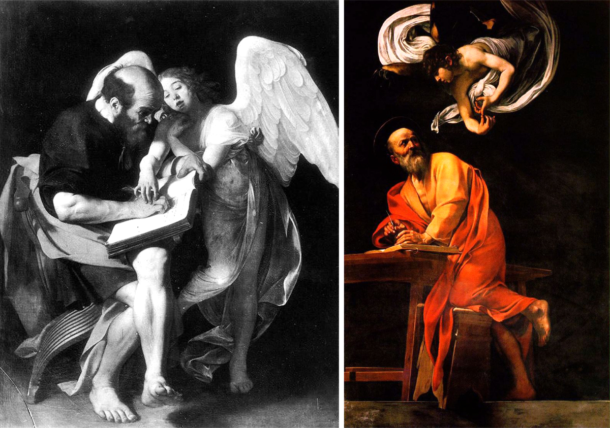 Caravaggio - San Matthew and the angel, the two versions compared