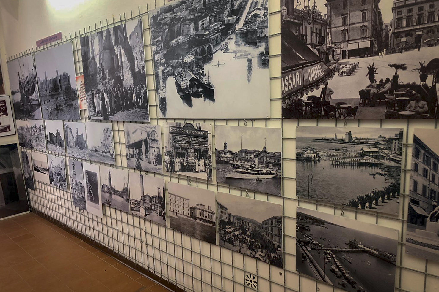 Some antique photographies displayed at Casa della Memoria di Civitavecchia