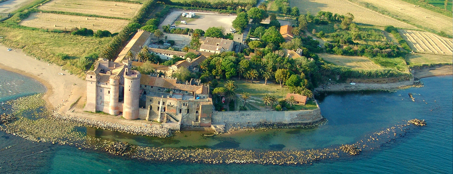 A beautiful panoramic photography from the sky of the Castle of Santa Severa