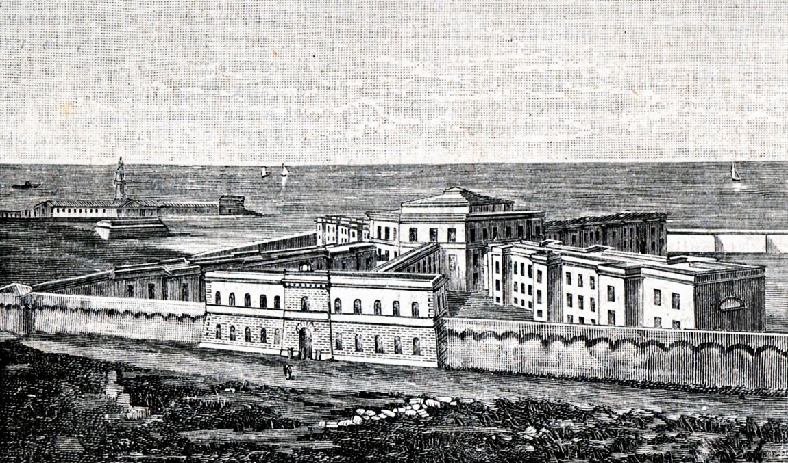 An old engraving of Civitavecchia that depicts the Penal Colony