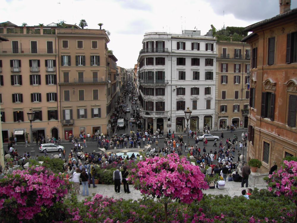 Via dei Condotti and Piazza di Spagna from the steps of Trinità dei Monti