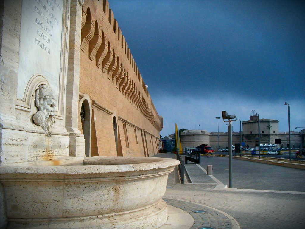 Vanvitelli Fountain close to Porta Livorno. Inside the city walls uilt by Pope Urban VIII will be raised the Terminal del Gusto