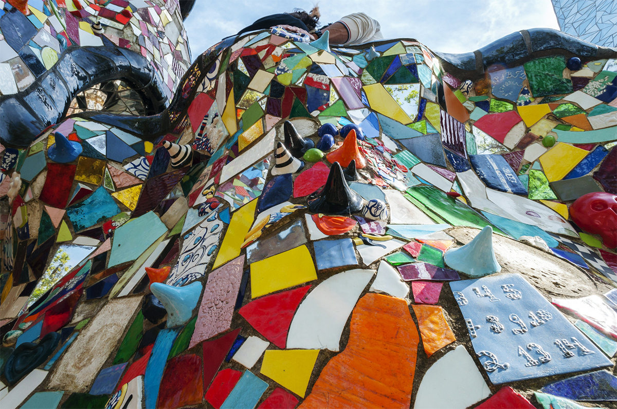 Mosaics and ceramics in the Tarot Garden in an explosion of colour and surrealism