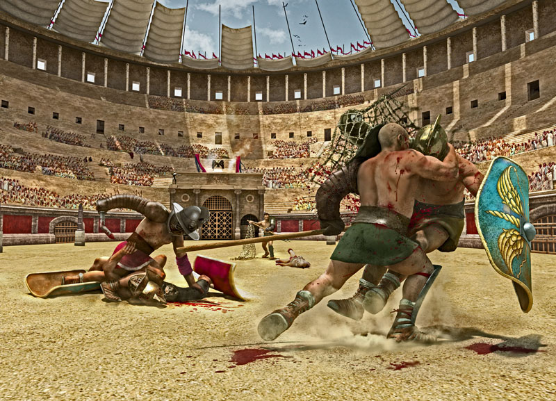 A depiction of a gladiator's fight
