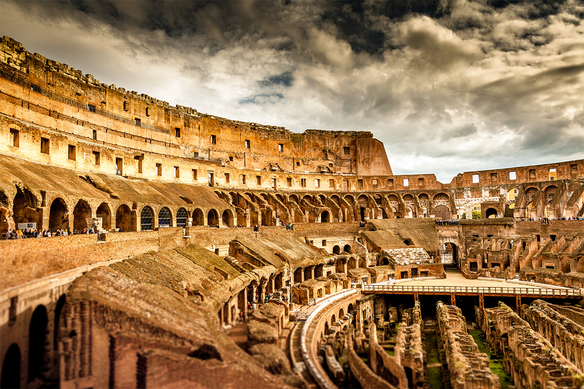 The Colosseum of Rome seen from the inside