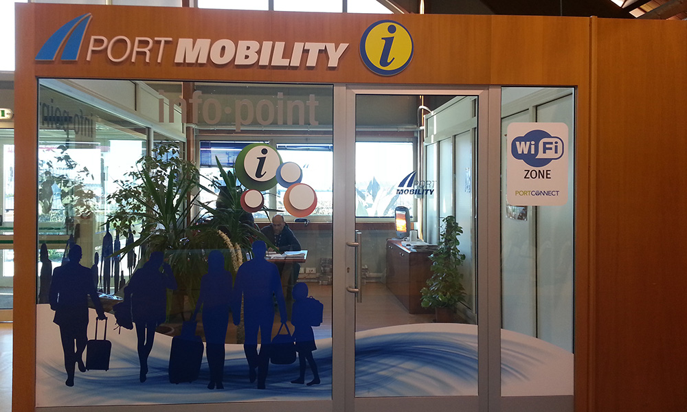 L'infopoint Port Mobility all'interno del terminal ADM