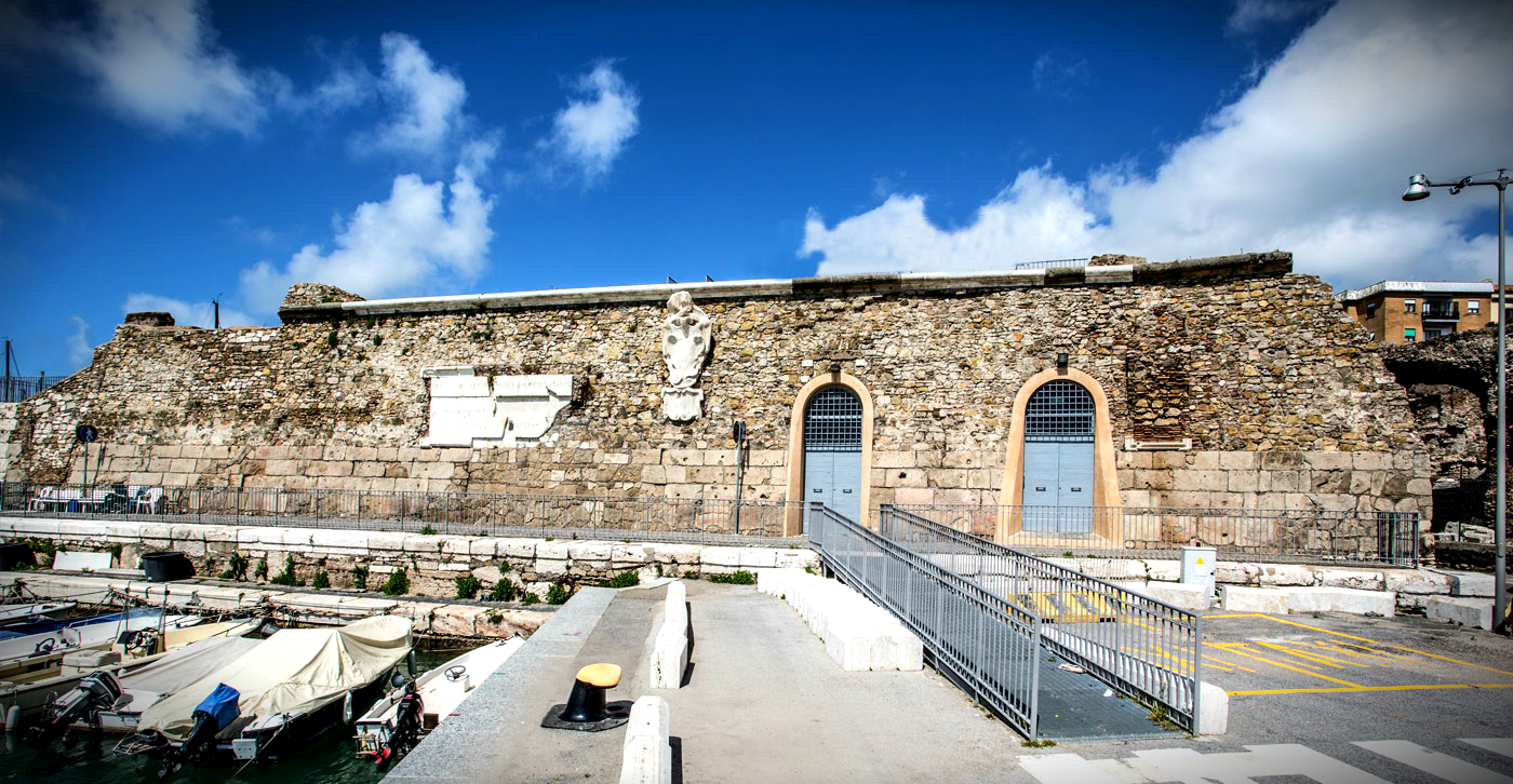 Front façade of the Ancient Rock of the Port of Civitavecchia