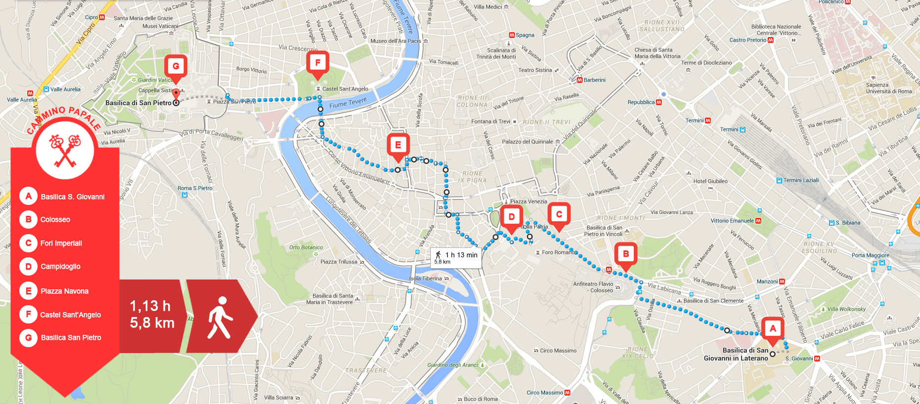 The Papal Way starts at the Basilica of Saint John and ends, after about 6 km, at St. Peter