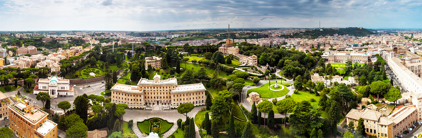 A spectacular panoramic view from the top of the Vatican Museums complex