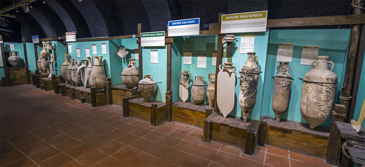 Old Amphoras at the Sea and Ancient Navigation Museum of Santa Severa