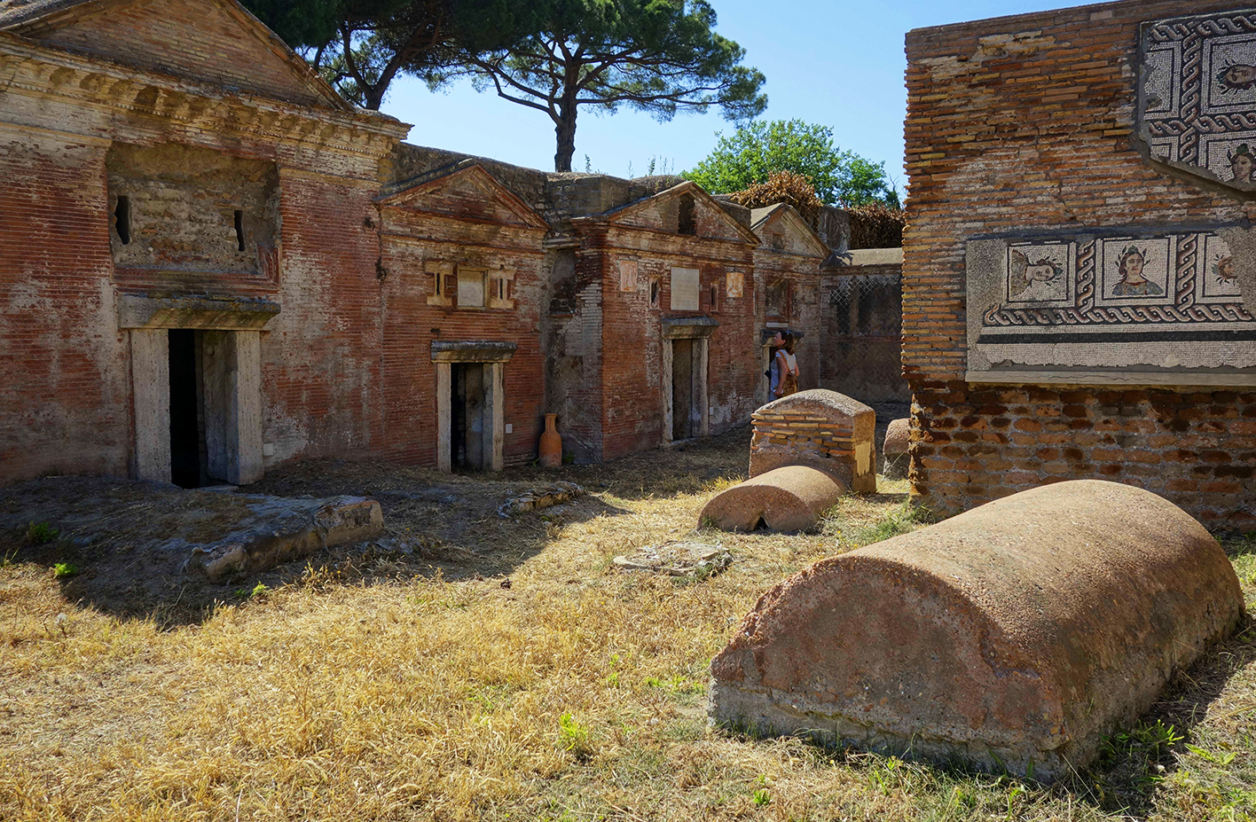 An open space among some decorated sepulchres in the Necropolis of Portus