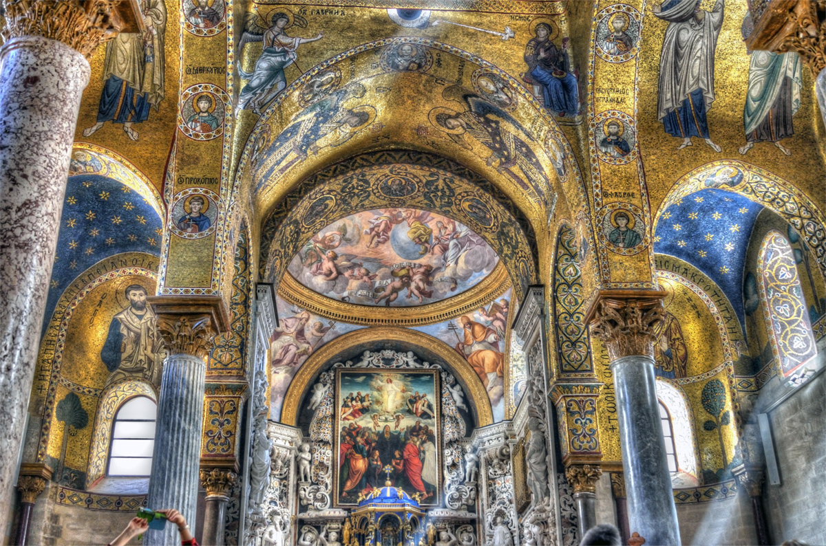 Splendid mosaics in the Church of the Martorana - Palermo