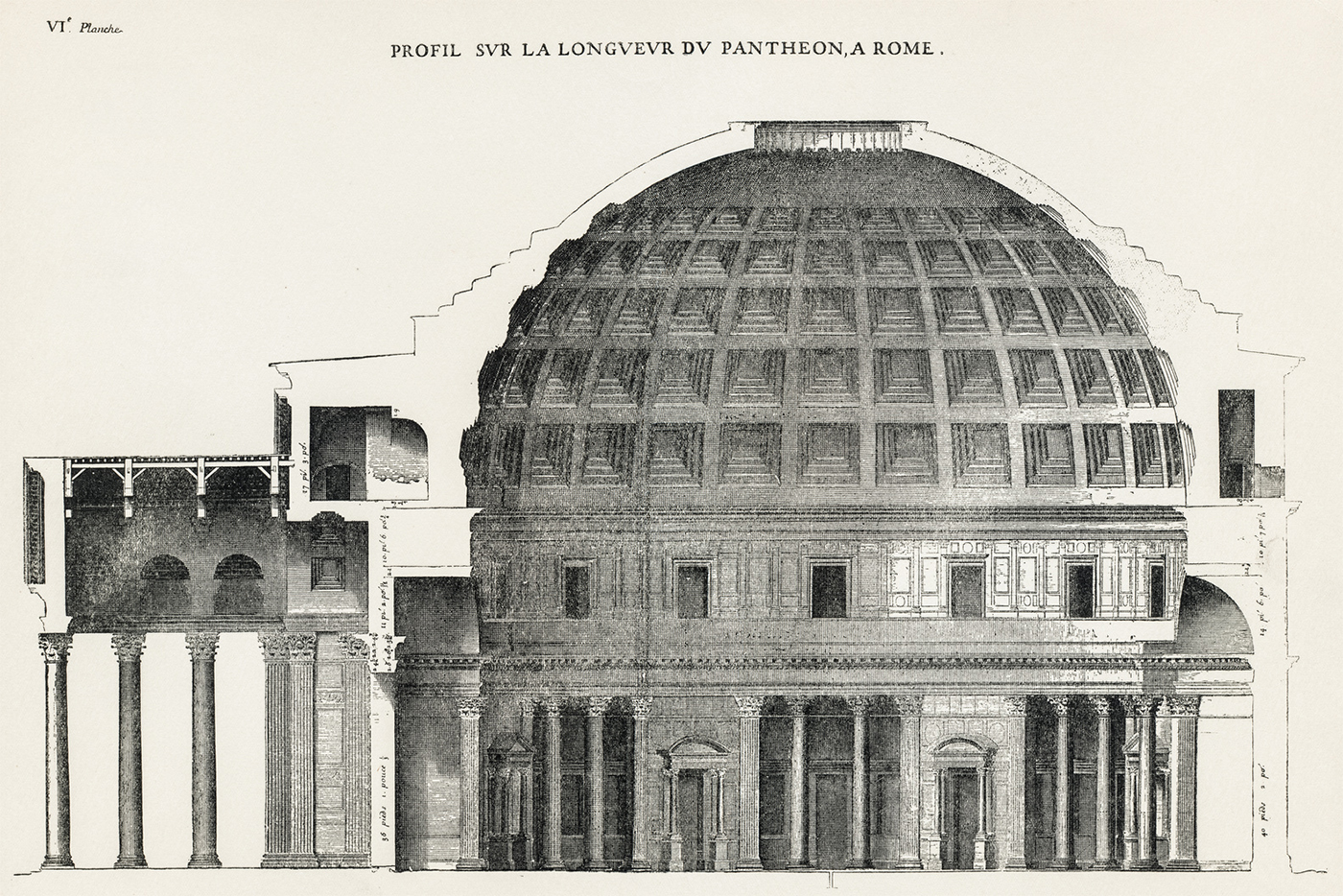 A section of the project for the Pantheon
