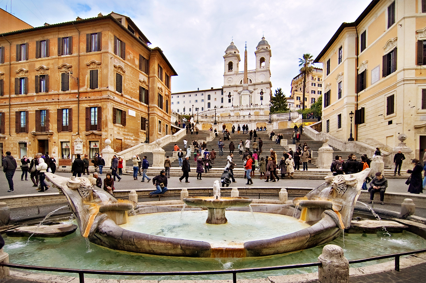 Piazza di Spagna with the famous fountain of la Barcaccia and the steps of Trinità di Monti