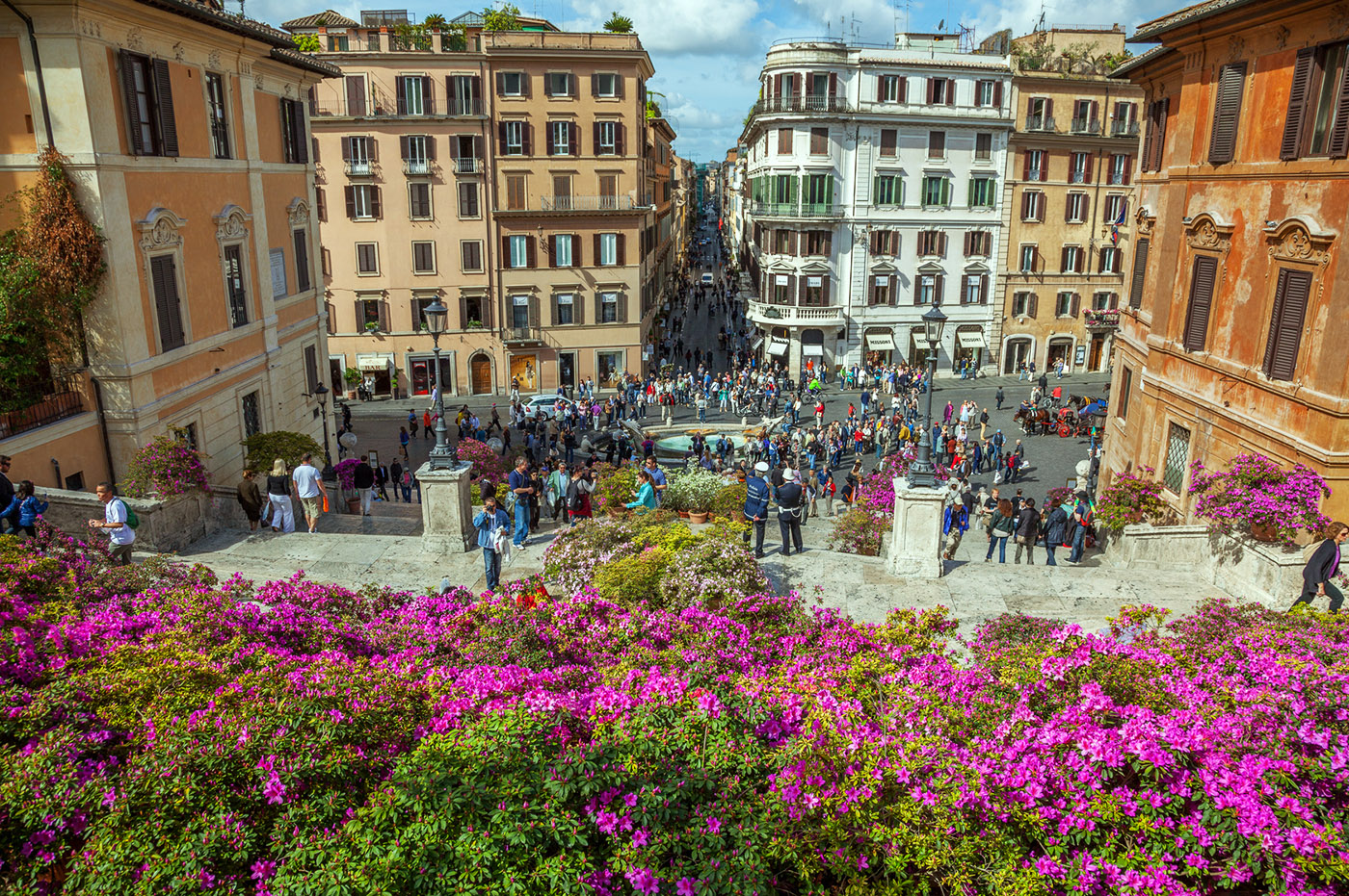 A panoramic view over Piazza di Spagna during the traditional exhibition of Capitoline azaleas