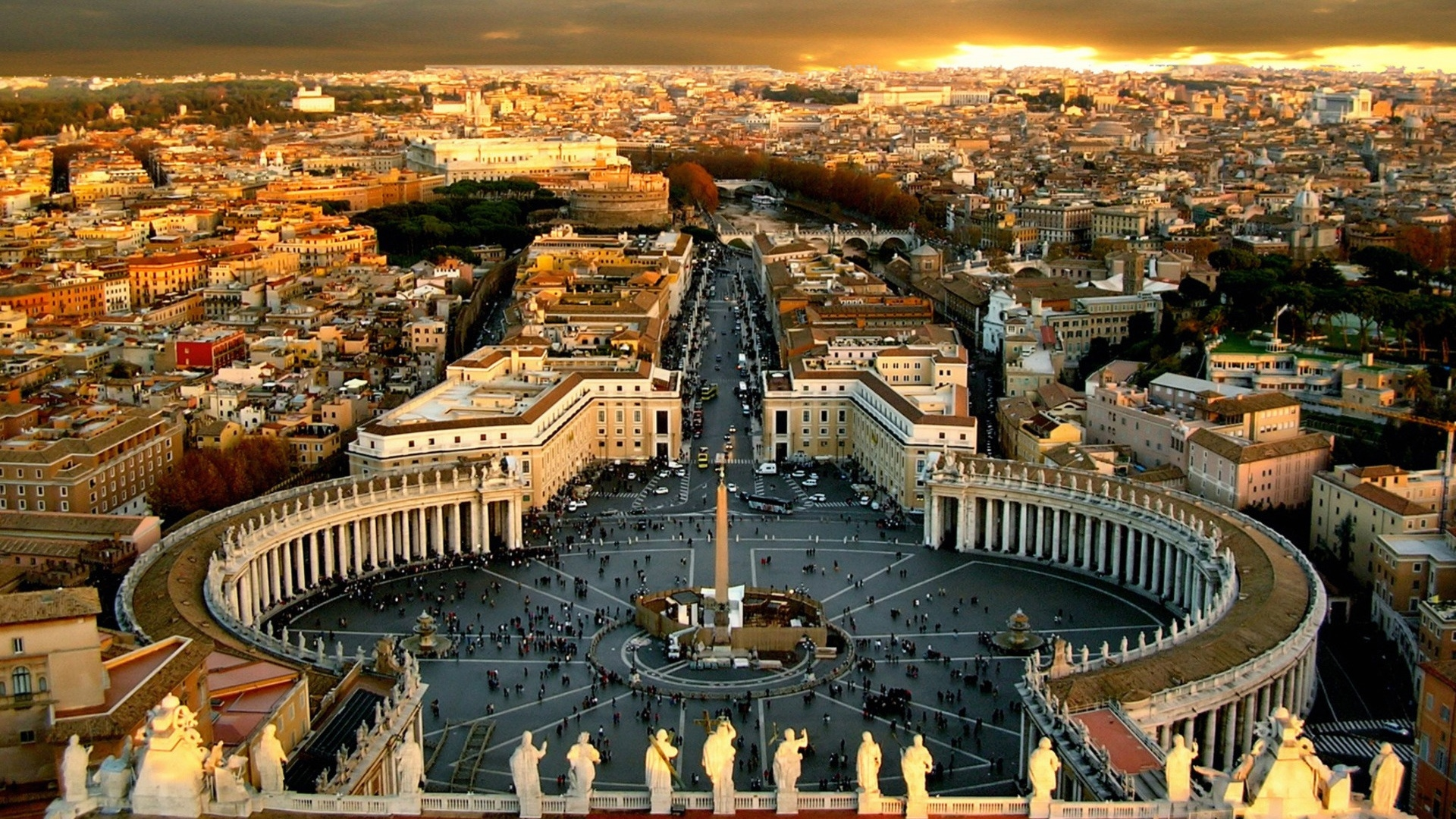 A spectacular view of St. Peter's Square from above