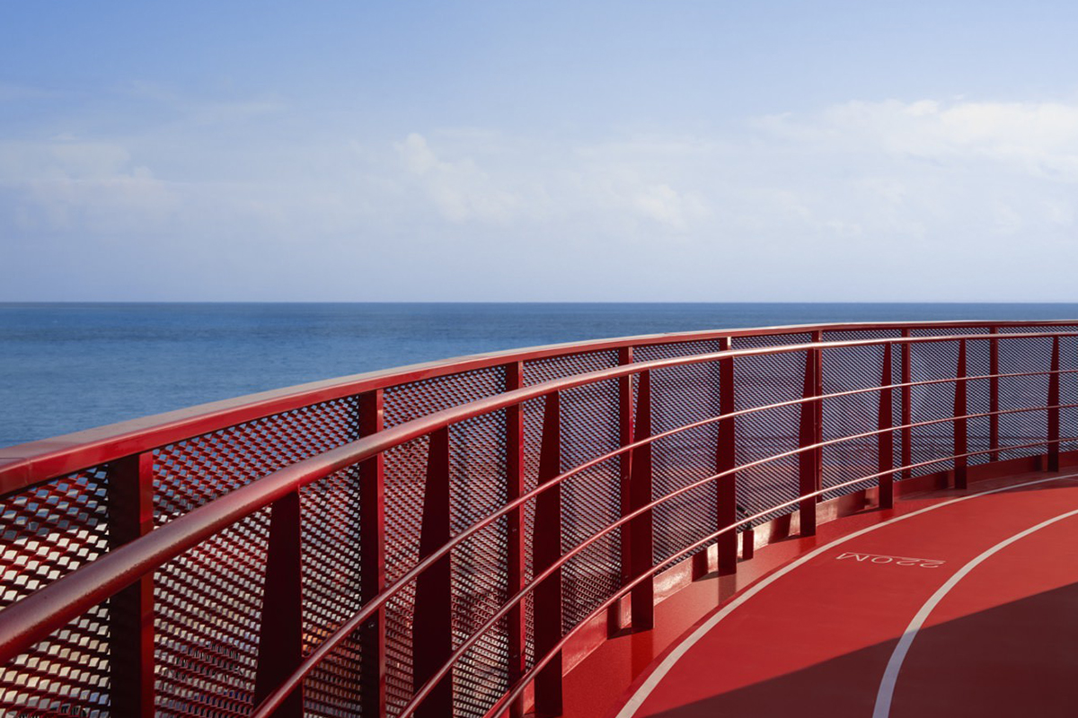 The running track surrounding the perimeter of the ship. Source: www.virginvoyages.com