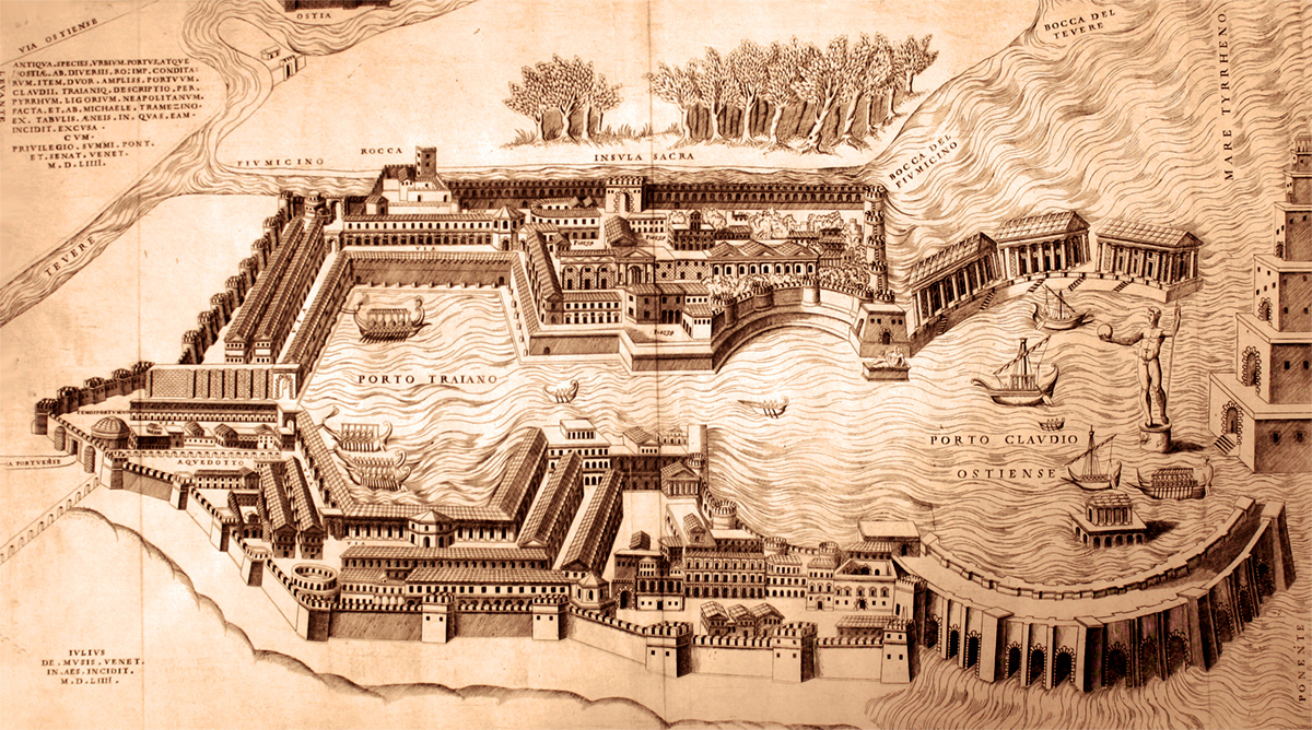 Harbour of Claudius and Harbour of Trajan - Old Illustration