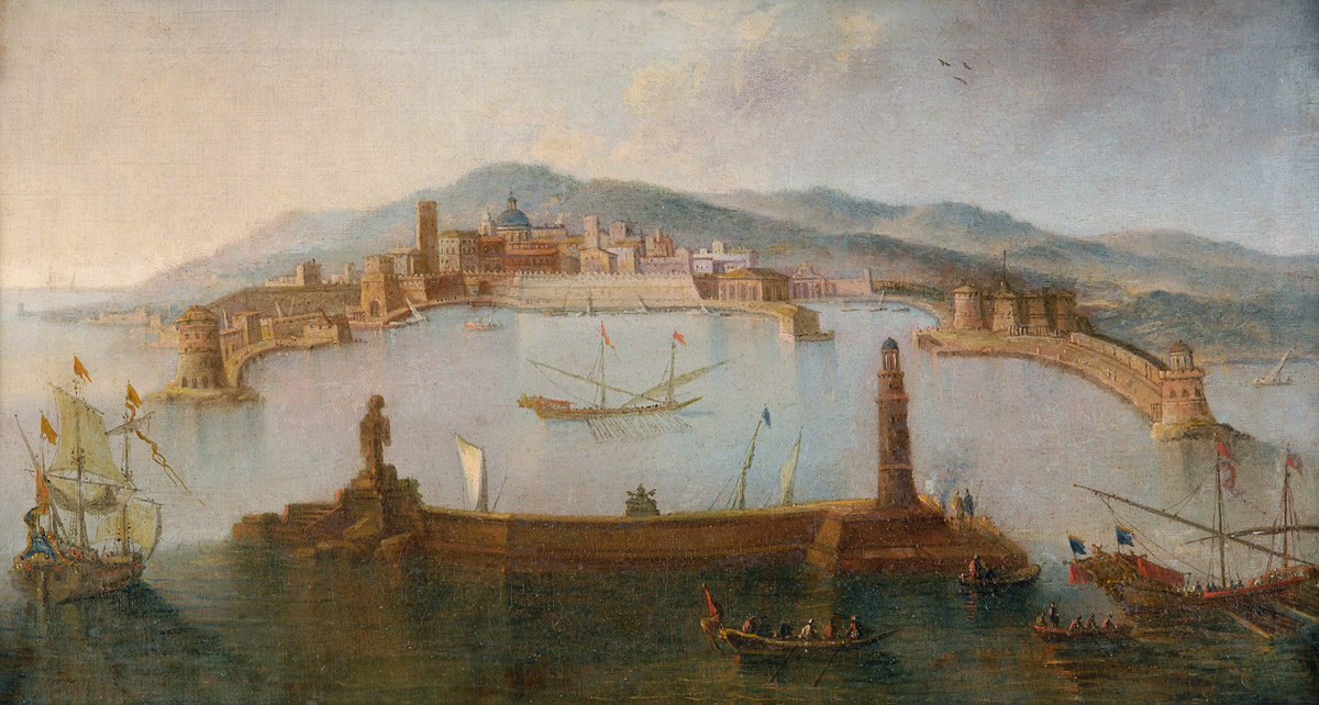 The Port of Civitavecchia in an old painting