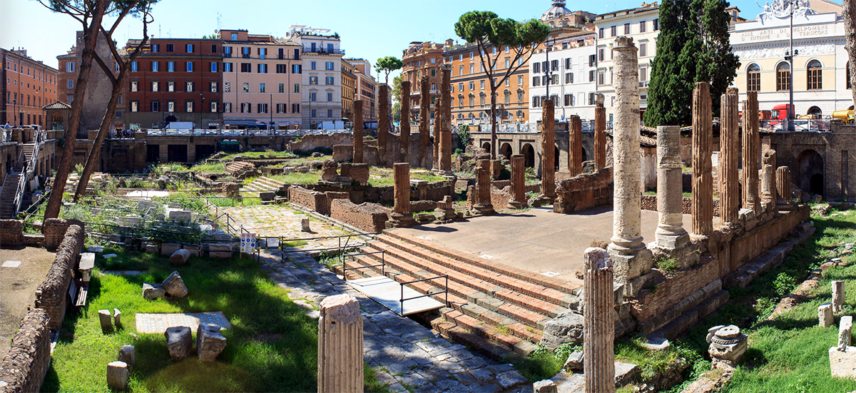 Ruins of the Sacred Area of Torre Argentina: here was murdered Julius Caesar