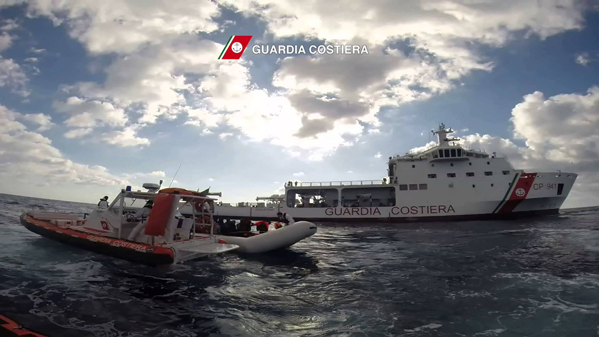 The ship Diciotti owned by the Coast Guard during a rescue operation in open sea