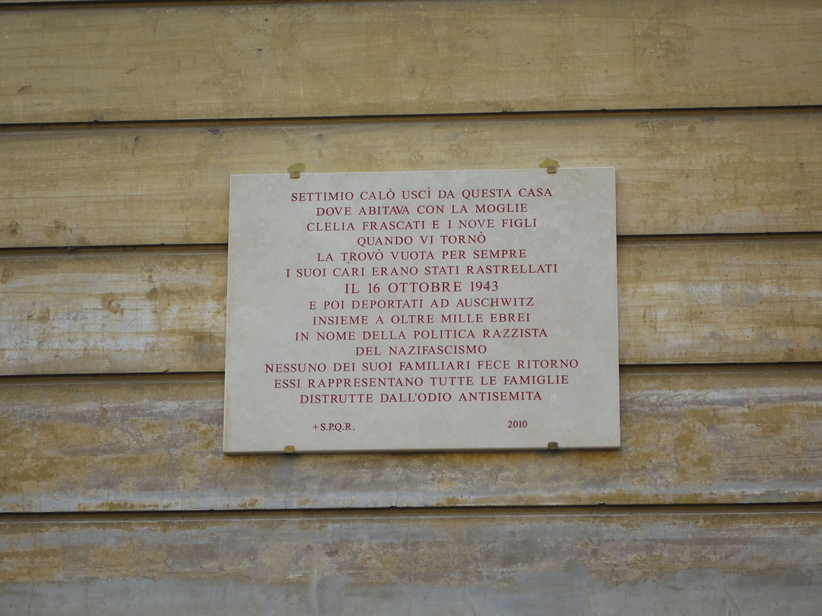 Commemorative plaque to one of the 1,000 victims of the nazi extermination of the 16 October 1943 in the Roman ghetto