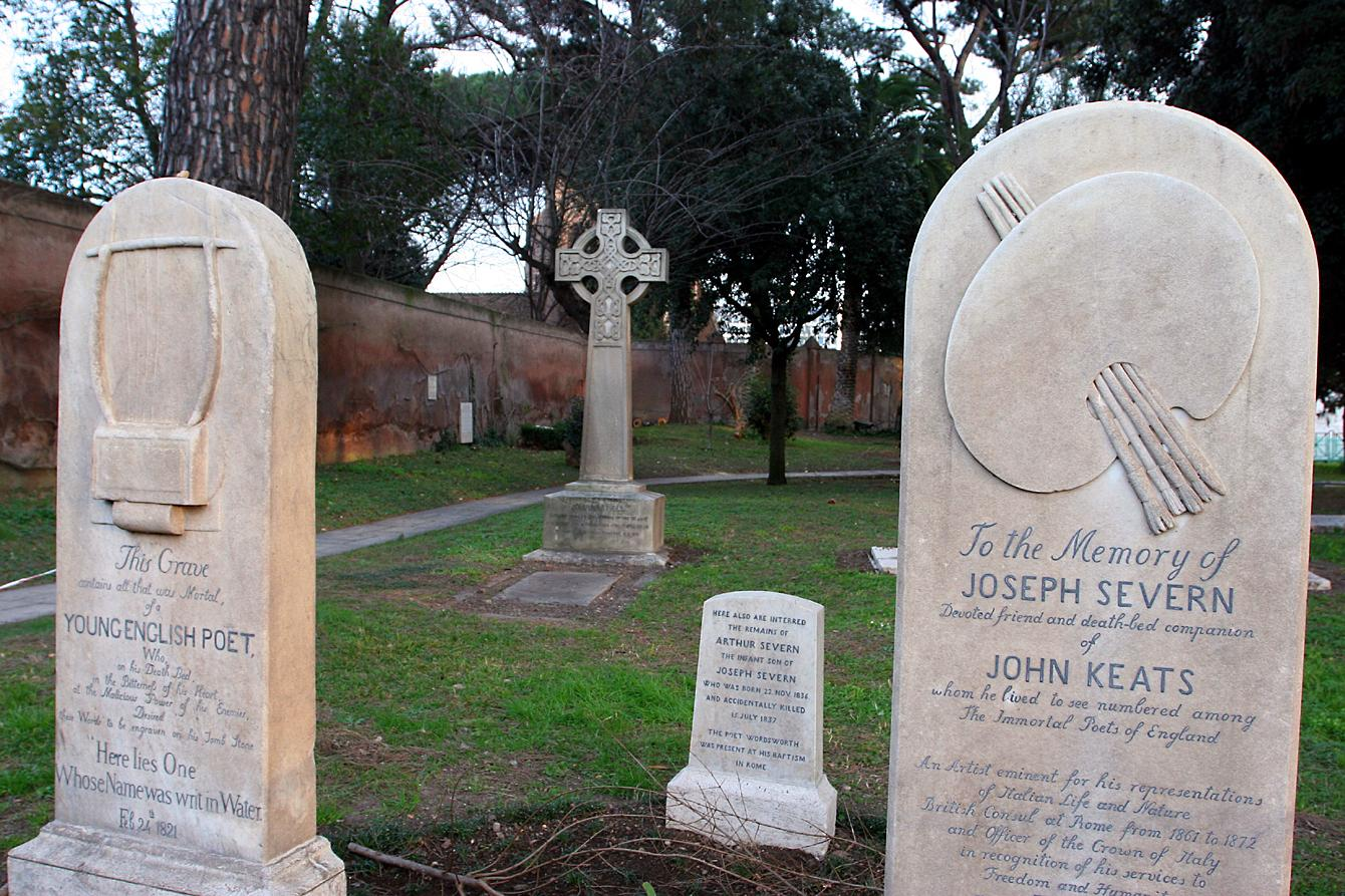 The tombs of Severn and Keats at the Protestant Cemetery