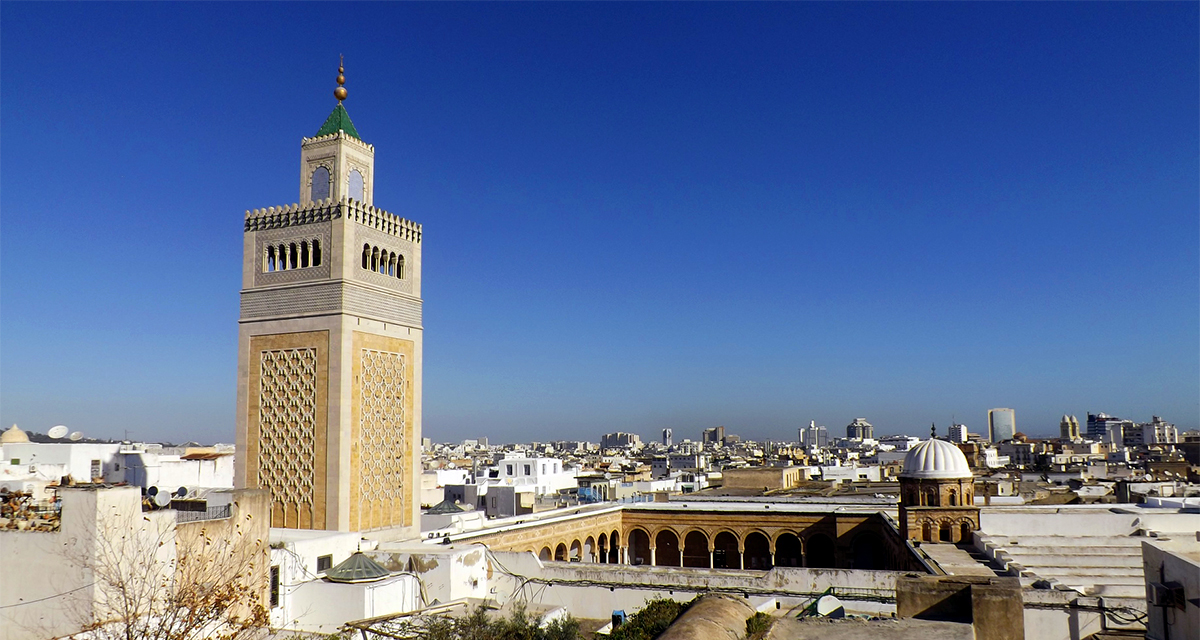Mosque of al-Zaytouna seen from above with the minaret standing out