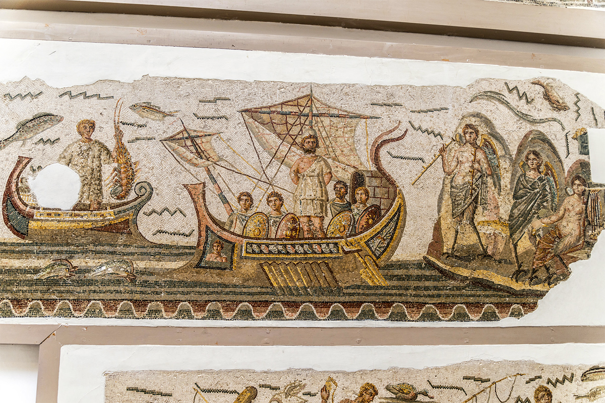 Tunis - Bardo National Museum (detail of the mosaic of the journey of Ulysses)