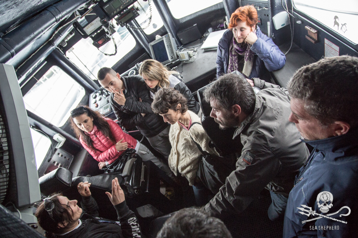 Sea Shepherd: during the visit at the cockpit